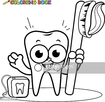 Coloring Page Tooth Cartoon Character Holding Toothbrush And