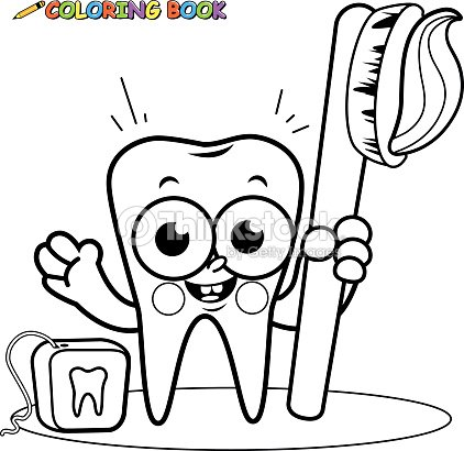 Coloring Page Tooth Cartoon Character Holding Toothbrush And ...