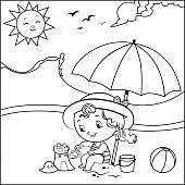 Coloring book in summer concept with child. (Vector illustration)