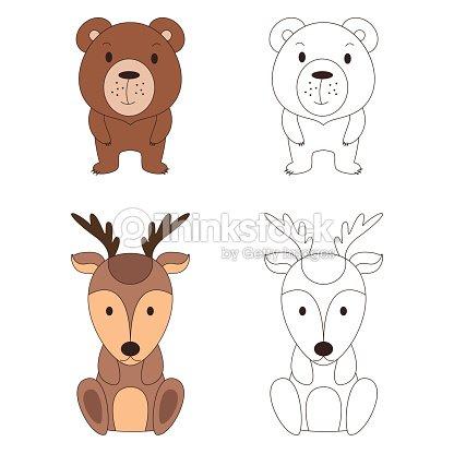 Página Para Colorear Con Animales Ciervos Salvajes Y Oso En Color Y ...