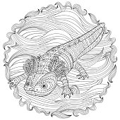 Coloring page with cute axolotl in patterned style. Black white hand drawn doodle with amphibian for art therapy. Sketch for cover, poster, print, t-shirt. Vector illustration