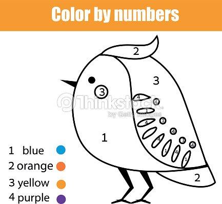 Página Para Colorear De Aves Juego De Niños Educativos De Números ...