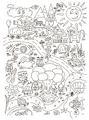 Coloring page with cute baby animals. Vector isolated