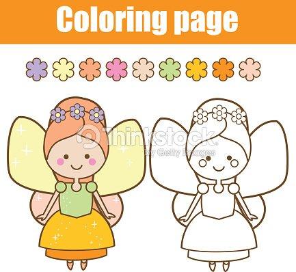 Página Para Colorear Con Carácter De Hadas Lindo Estilo Kawaii ...