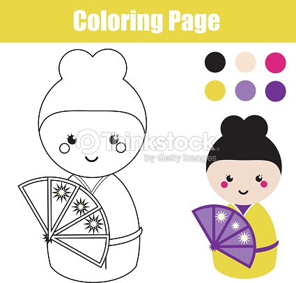 Coloring Page With Cute Japanese Kokeshi Doll Children Educational Game Drawing Activity Vector