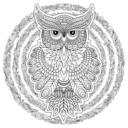 Página Para Colorear Con Búho Lindo Y Marco Flores Arte vectorial ...