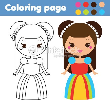 Página Para Colorear Con Carácter Princesa Lindo Estilo Kawaii ...