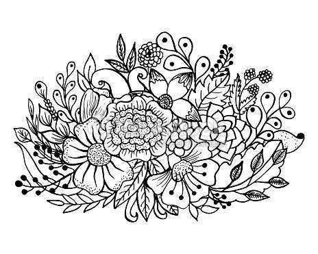 Página Para Colorear Con Flores Y Hojas Arte vectorial | Thinkstock