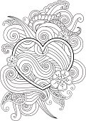 Coloring page with heart and abstract element isolated. Happy Valentines Day Graphic for print, card. Vertical composition. Coloring book for adult and older children. Editable vector illustration.