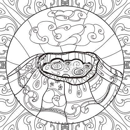 Página Para Colorear Con Volcán Arte vectorial   Thinkstock
