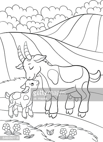Coloring Pages Farm Animals Mother Goat With Her Little Baby