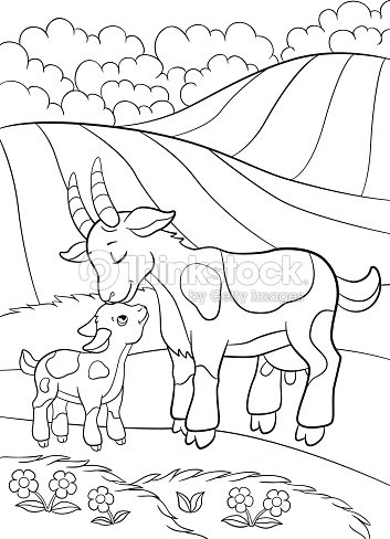 coloring pages farm animals mother goat with her little baby stock vector thinkstock. Black Bedroom Furniture Sets. Home Design Ideas