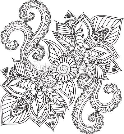 Colorear Páginas Para Adultos Garabatos Abstractos De Alheña Mehndi ...