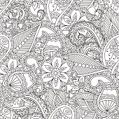 Coloring Pages For Adults Seamless PatternHenna Mehndi Doodles Abstract Floral Paisley Design Elements