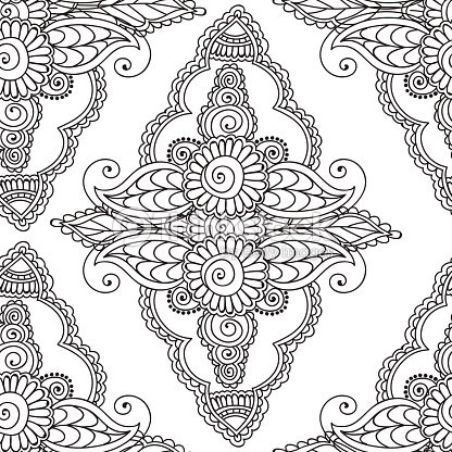 Coloring Pages For Adults Seamles Henna Mehndi Doodles Abstract ...