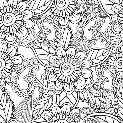 Colorear Páginas Para Adultos Garabatos Abstractos Seamles Alheña ...