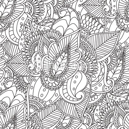 Coloring Pages For Adultsdecorative Hand Drawn Doodle Nature ...