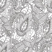 Coloring Pages For Adults BookDecorative Hand Drawn Doodle Nature Ornamental Curl Vector