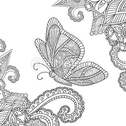 Página Para Colorear Adultos Alheña Mehndi Flores Elementos ...
