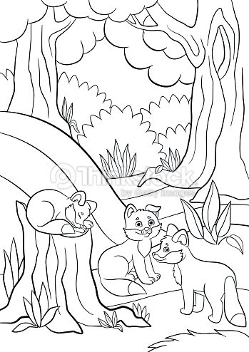Coloring Pages Wild Animals Three Little Cute Baby Fox