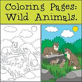 Coloring Pages: Wild Animals. Wolf family in the forest. They are smiling.