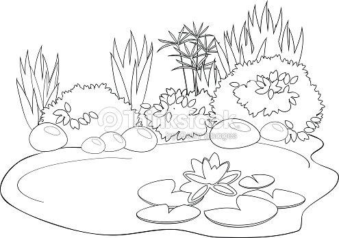 Coloring Pond Vector Art | Thinkstock