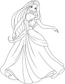 Vector illustration, coloring, beautiful fairy princess dancing at the ball