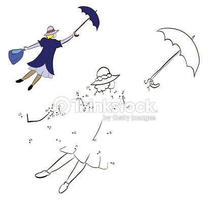 Colorear Mary Poppins Volando Con Un Paraguas Arte vectorial ...