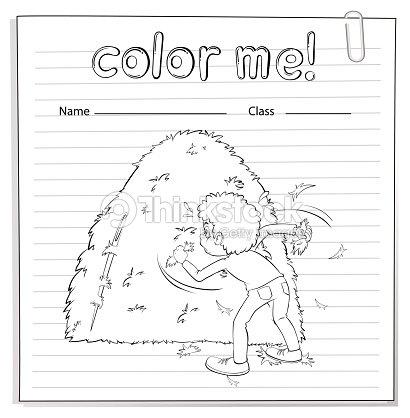 Hoja De Trabajo Para Colorear Con Un Niño Mirando En El Pajar Arte ...