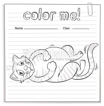 Hoja De Trabajo Para Colorear Con Un Gato Arte vectorial | Thinkstock