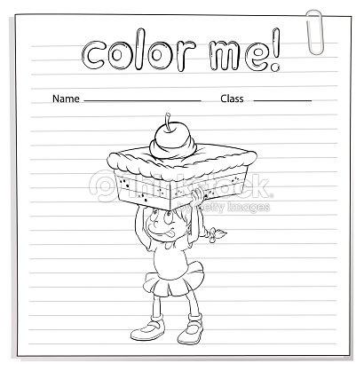 Hoja De Trabajo Para Colorear Con Una Chica Con Un Pastel Arte ...