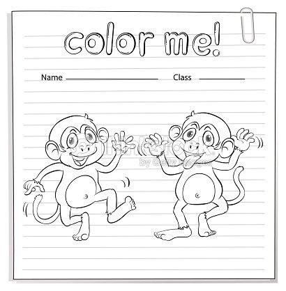 Hoja De Trabajo Para Colorear Con Los Monos Arte vectorial | Thinkstock