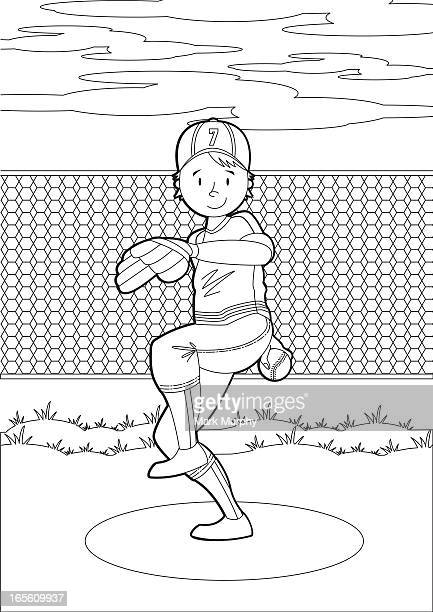 Colour In Baseball Pitcher