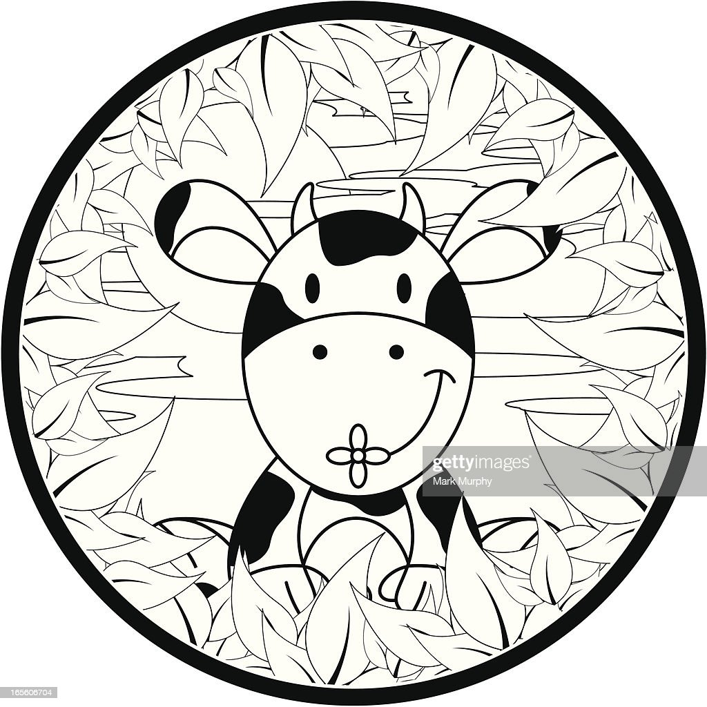 colour in cow graphic vector art getty images