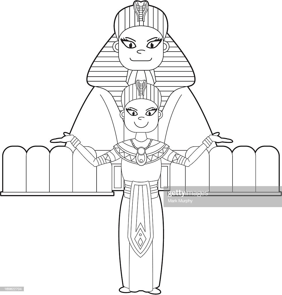 colour in egyptian pharaoh sphinx vector art getty images