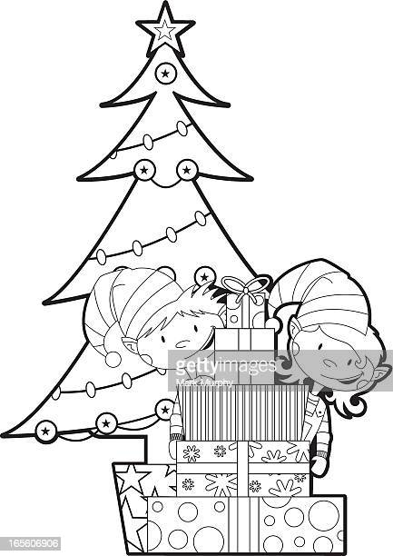 Colour in Elves with Tree & Gifts