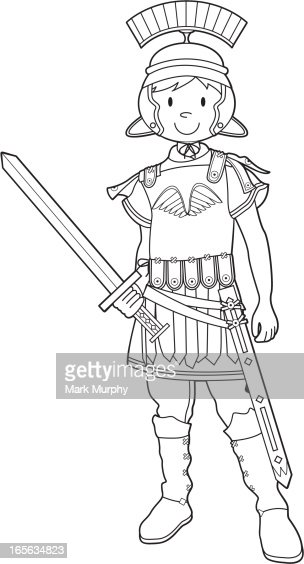 colour in roman soldier with sword vector art
