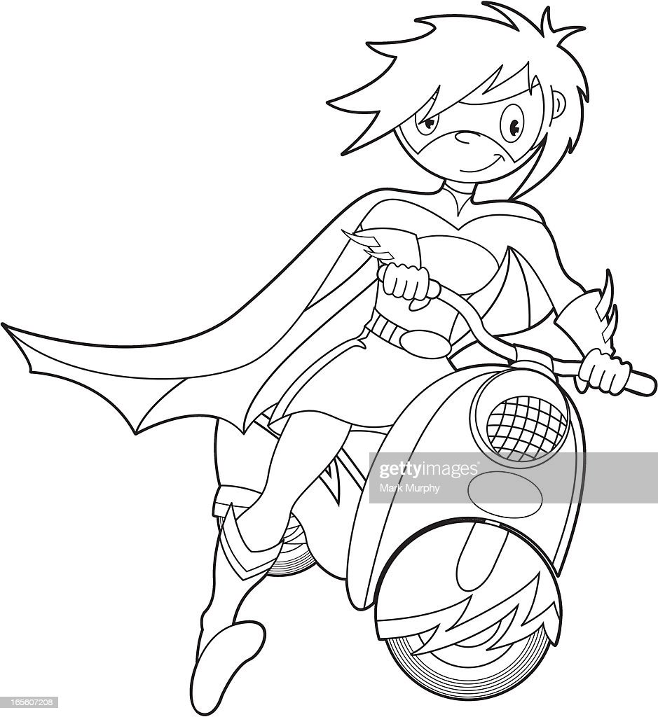 Uncategorized Bike Pictures To Colour colour in super girl on bike vector art getty images art