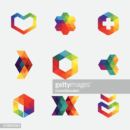 Colourful Hexagon Icons And Symbols Vector Art | Getty Images