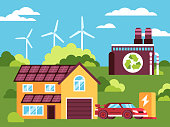 This illustration shows a house, around which you can see a green and clean environment, there is an electric car near the house, ecologically safe plant and alternative sources of electricity product