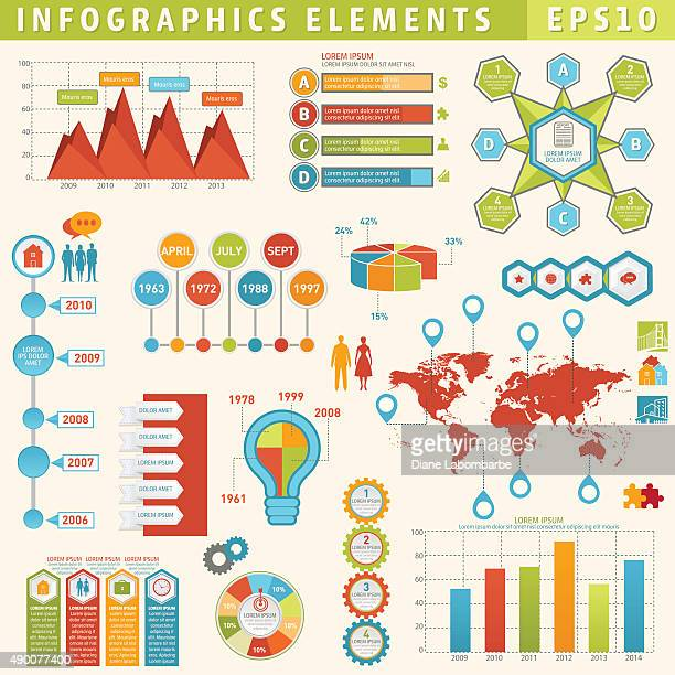 Colourful Infographic Timeline Elements Set