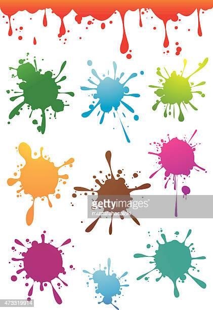 Colourful paint splatters set