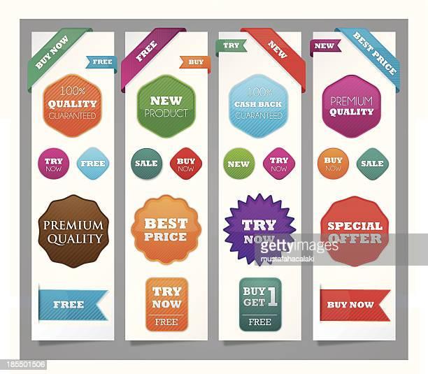 Promotion boutons et des rubans colorés