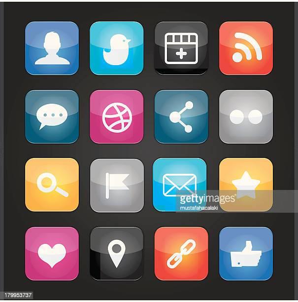 colourful social media icons