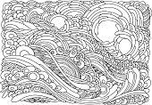 Background with flowers and plants. Black and white doodle vector illustration. Coloring book for adult and older children. Coloring page. Outline drawing.
