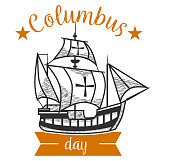 Columbus Day logo sign with sailing vessel. Emblem with ship and hand drawn lettering inscription vector illustration. United States national holiday concept. Isolated on white