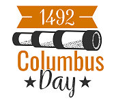 Columbus Day logo sign with spyglass and inscription. National American holiday emblem with glass festive ribbon and date 1492 when Columb discover America vector illustration. Isolated on white