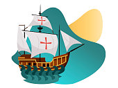 Columbus Day poster with Caravel Santa Maria. Sailing ship floating on the sea waves greeting or invitation card vector illustration. Isolated on white