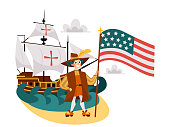 Columbus Day poster with Columb and Santa Maria. Greeting or invitation card with sailing ship and spanish sailor holding american flag vector illustration. Isolated on white