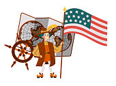 Columbus Day poster with Columb holding flag. Greeting or invitation card with great spanish sailor and world map steering wheel symbols vector illustration. United States national holiday concept